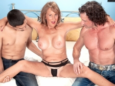 Trisha receives ass-fucked by two guys and swallows