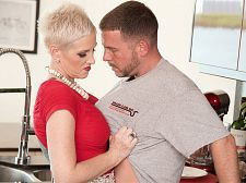 Kimber copulates the plumber. Her hubby watches.